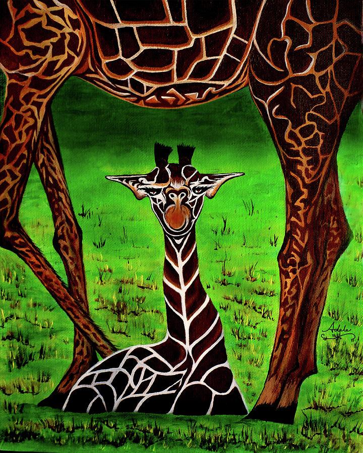 Giraffe Painting - Mommas Boy by Adele Moscaritolo