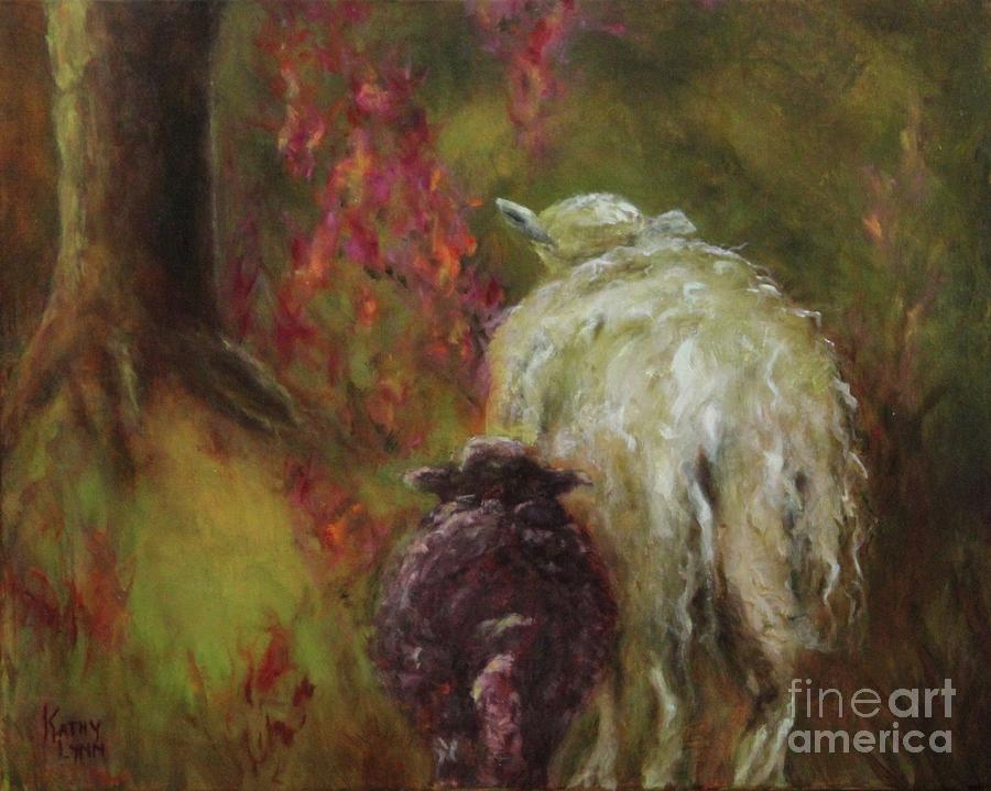 Sheep Painting - Mommy And Me by Kathy Lynn Goldbach