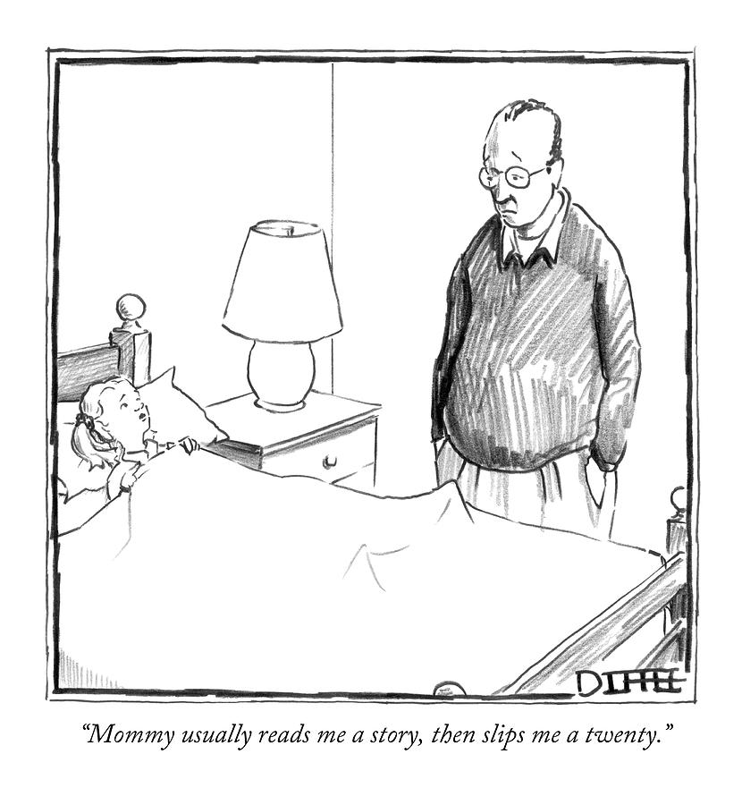 Mommy Usually Reads Me A Story Drawing by Matthew Diffee