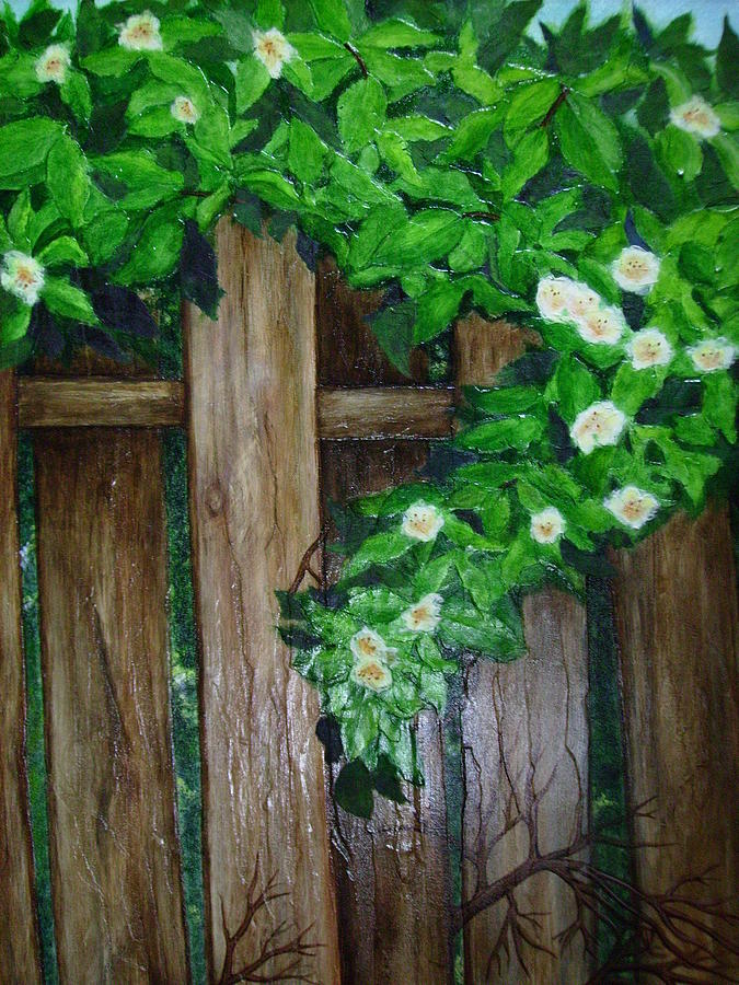 Flowers Painting - Moms Backyard Cedar Fence by Jan Wendt