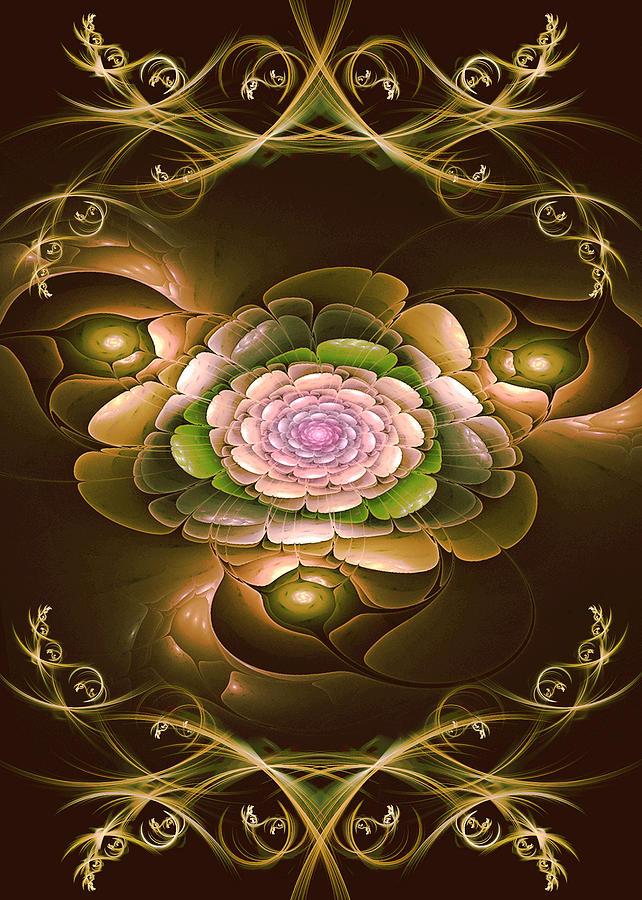 Fractal Digital Art - Moms Flower by Phil Clark