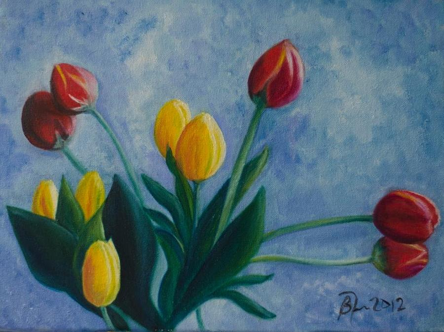 Moms Tulips Painting by Beatriz Topete