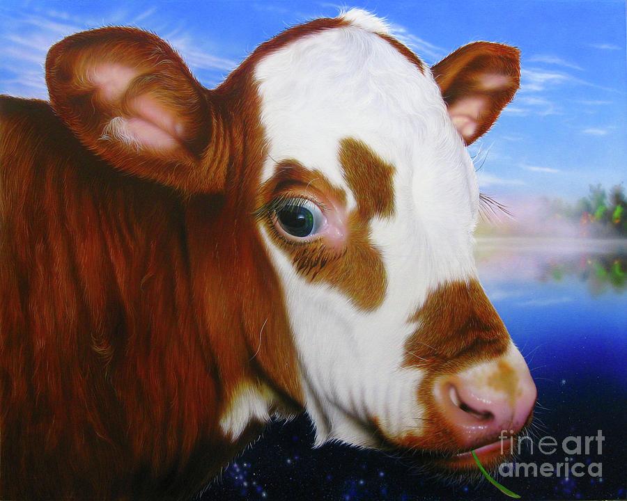 Cow Painting - Mona by Jurek Zamoyski
