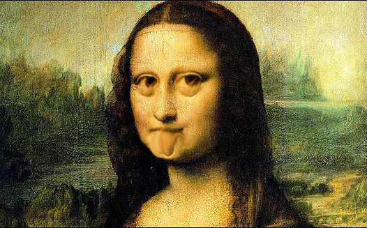Mona Lisa Making Faces Painting