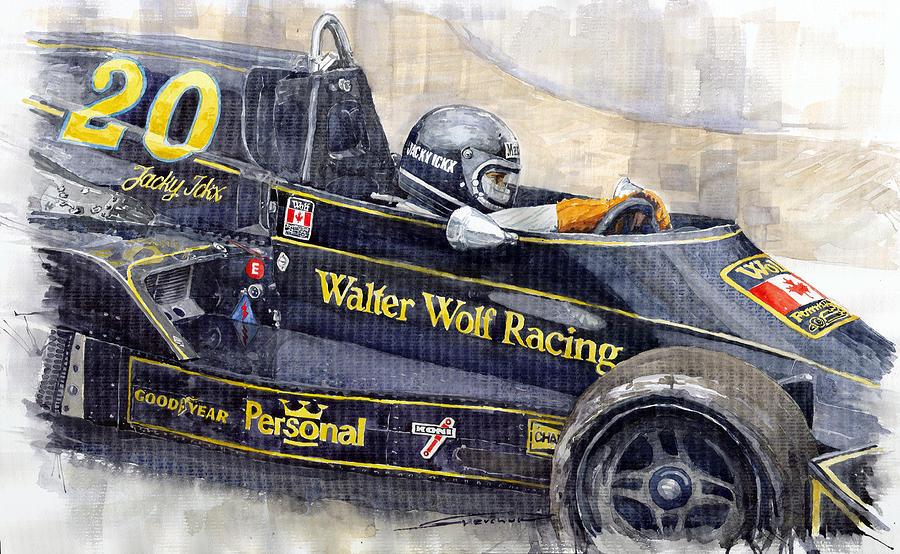 Watercolor Painting - Monaco 1976 Wolf Wiliams Fw05 Jacki Ickx by Yuriy Shevchuk