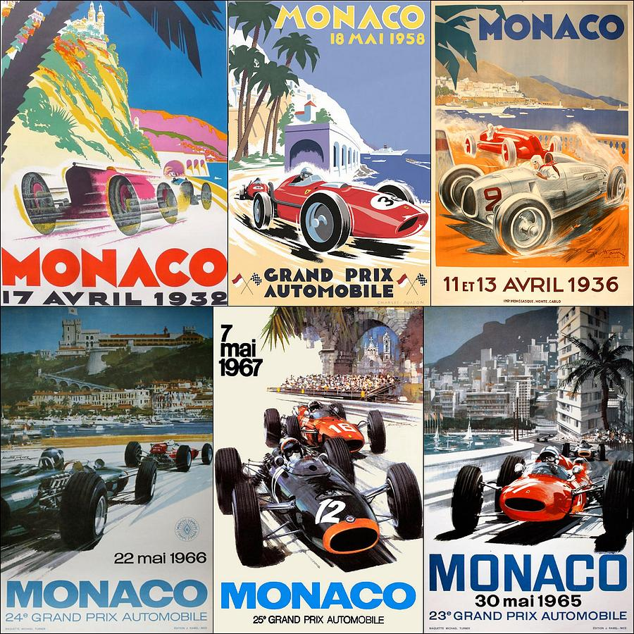 Monaco F1 Grand Prix Vintage Poster Collage Photograph By