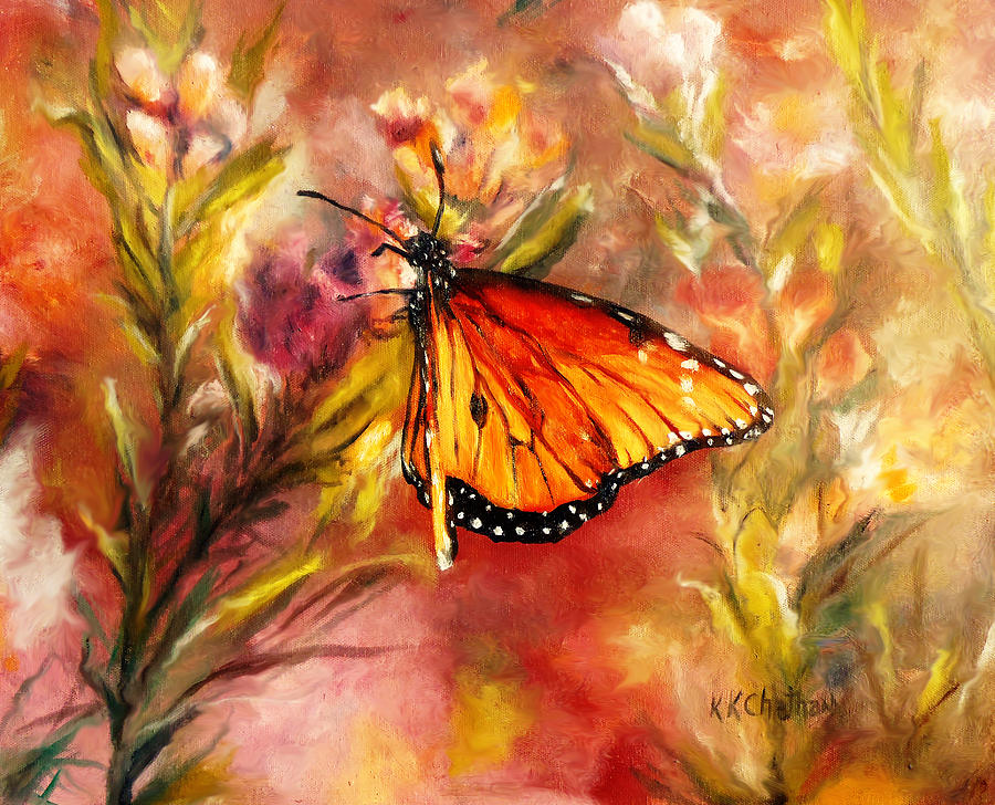 Monarch Butterfly Painting Painting - Monarch Beauty by Karen Kennedy Chatham