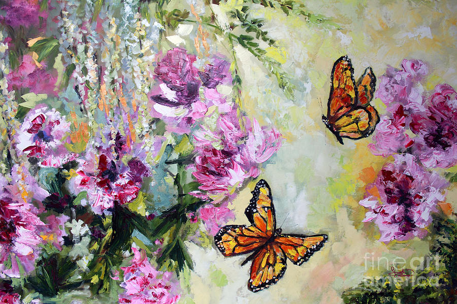 Monarch Butterflies And Peonies Painting By Ginette Callaway