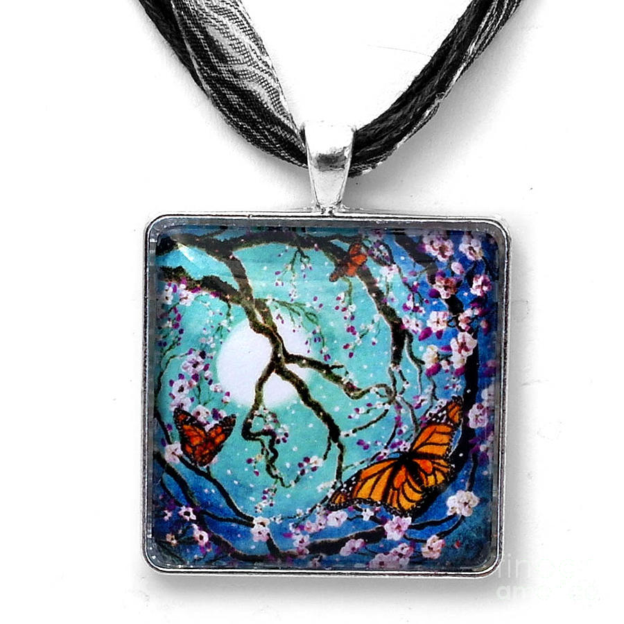 Jewelry Jewelry - Monarch Butterflies In Teal Moonlight Handmade Pendant by Laura Iverson