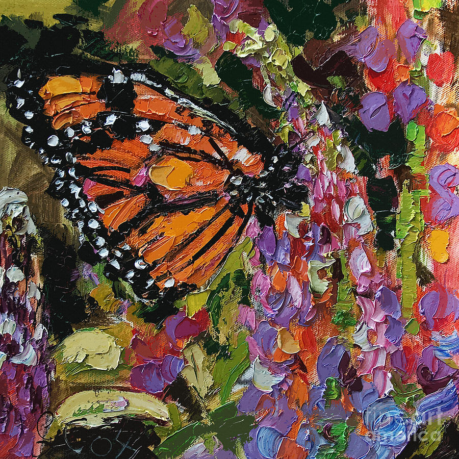 Monarch Butterfly on Lupines by Ginette Callaway