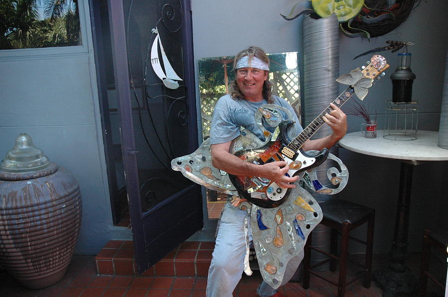 Guitar Sculpture Made Of '62 Mosrite Guitar Mounted On Stainless Steel Swallowtail Butterfly Embellished W/stained Glass And Epoxy Sculpture - Monarch Mosrite62 by Vince Anthony