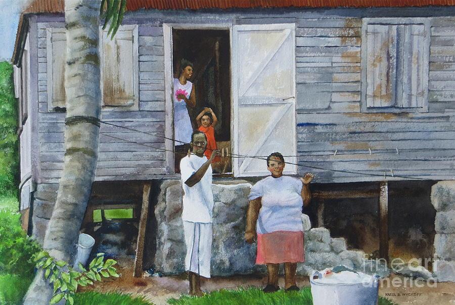 Palm Tree Painting - Monday-washday by Karol Wyckoff
