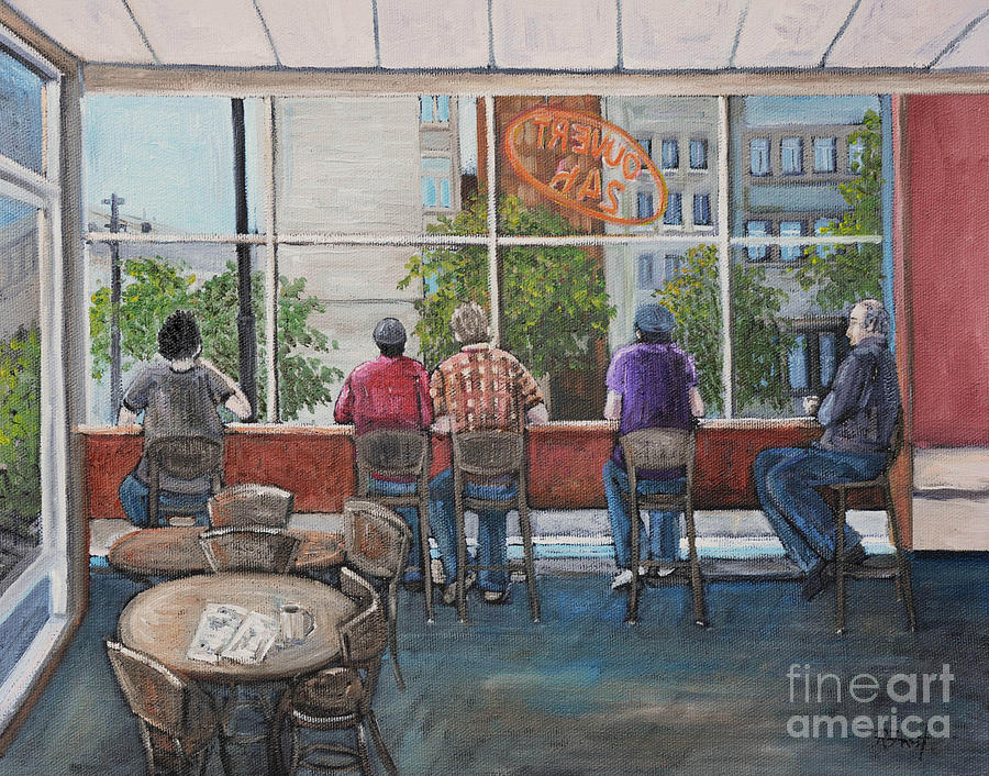 Restaurant Scene Painting - Mondays At Tim Hortons by Reb Frost