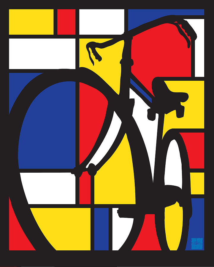 Mondrian Painting - Mondrian Bike by Sassan Filsoof