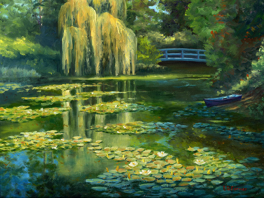 monet water lily garden iii giverny france painting by
