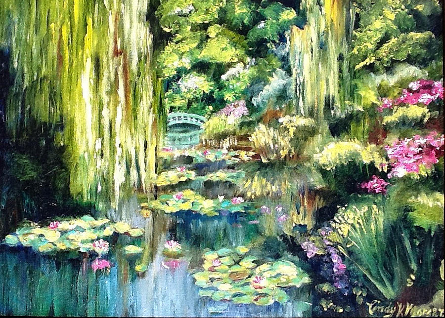 Superbe Waterscape Painting   Monets Garden By Cindy Morgan