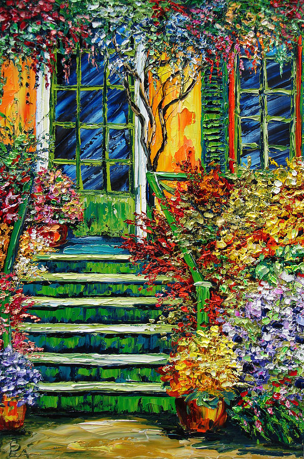 Giverny Painting - Monets Giverny Oil Painting by Beata Sasik
