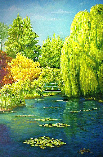 Landscape Painting - Monets Lily Pond In Green by Gary  Hernandez