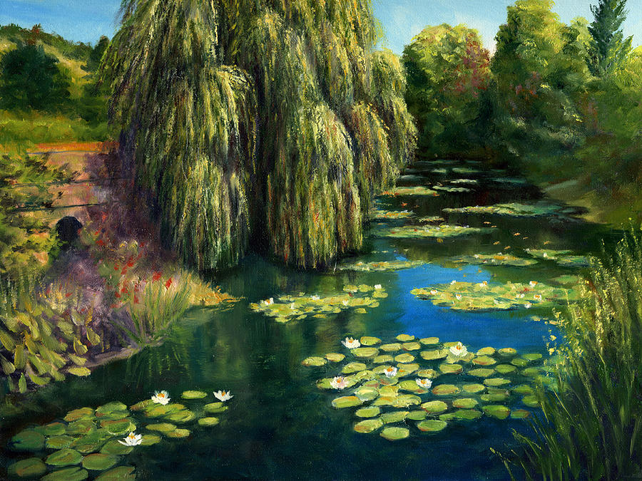 Monet Painting   Monets Water Lily Garden I, Giverny, France By Elaine  Farmer