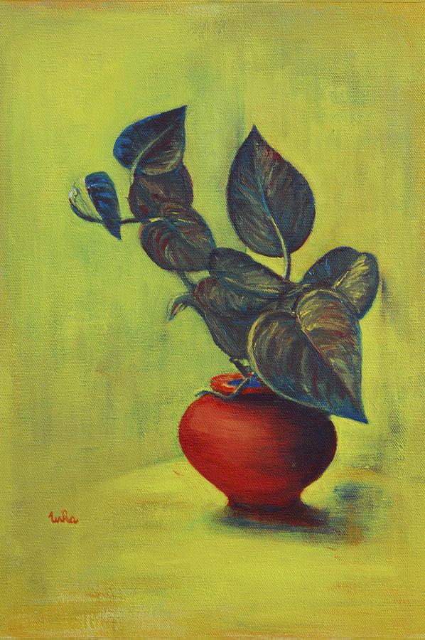 Money Plant Painting - Money Plant - Still Life by Usha Shantharam