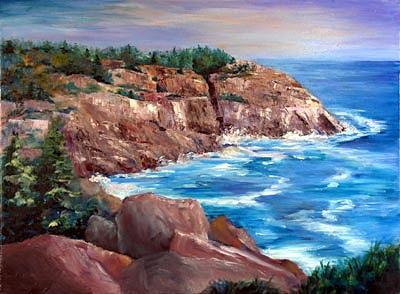 Cliff Painting - Monhegan Cliffs by Barbara Seibel
