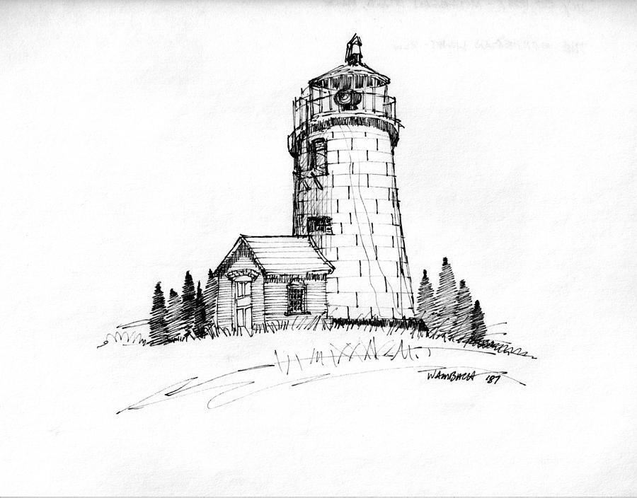 Monhegan Island Drawing - Monhegan Lighthouse 1987 by Richard Wambach