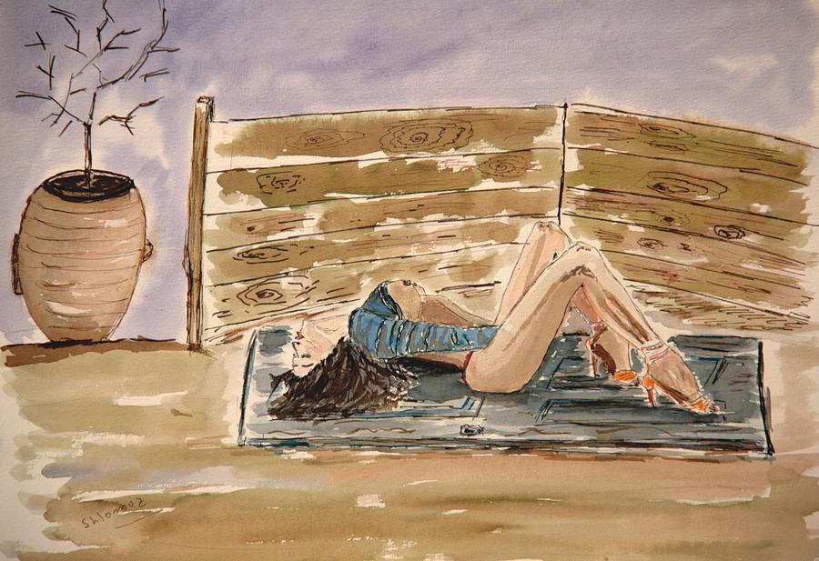 Woman Greeting Cards Painting - Monika Passion. by Shlomo Zangilevitch