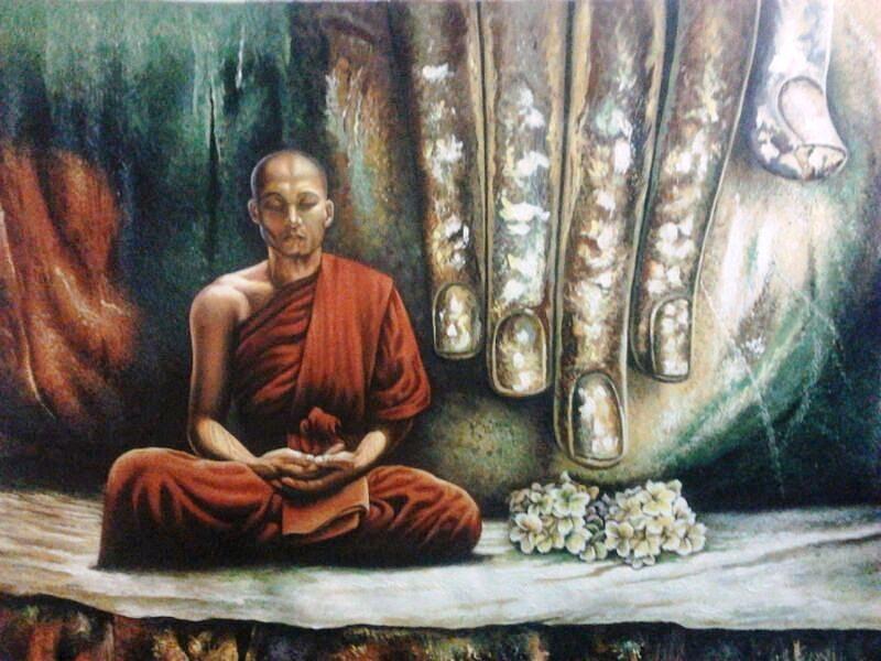 Monk In Meditation Painting by Yokami Arts