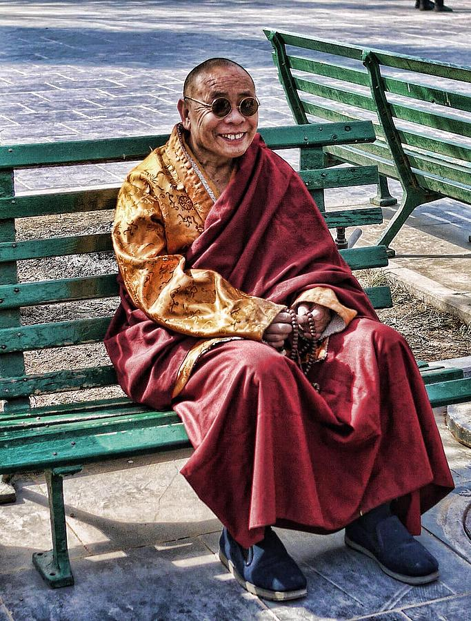 Happy Photograph - Monk In The Park by Barb Hauxwell