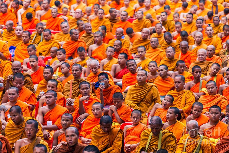 Monk Photograph - Monk Mass Alms Giving by Fototrav Print