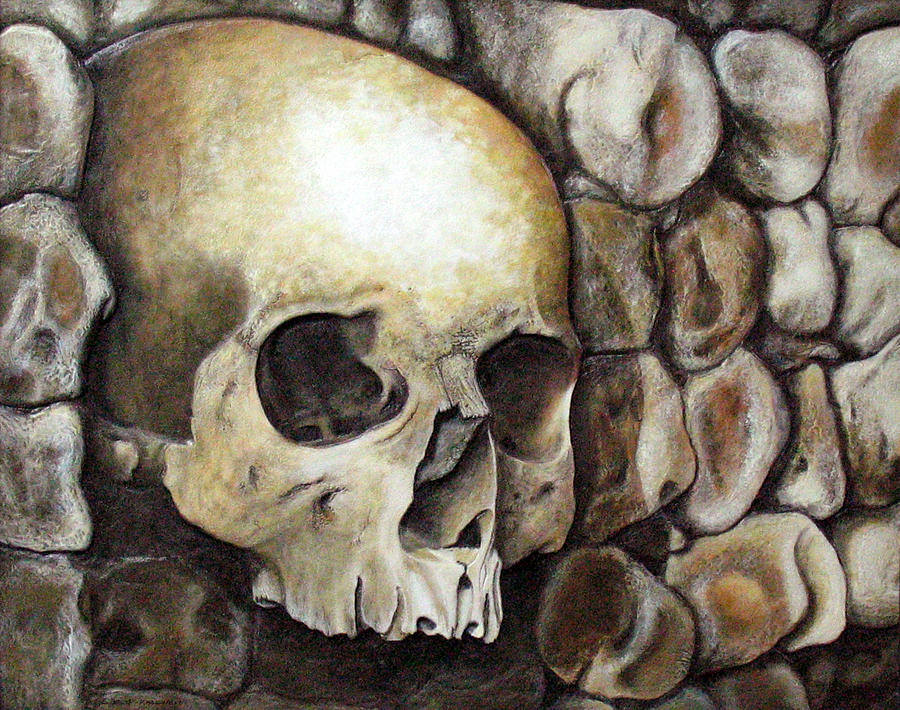Skulls Relief - Monk Relic by Elaine Booth-Kallweit