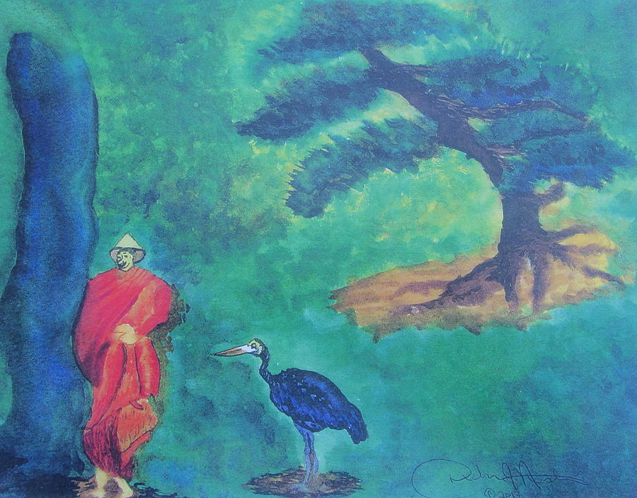 Monk Painting - Monk With Bonzai Tree by Debbie Nester