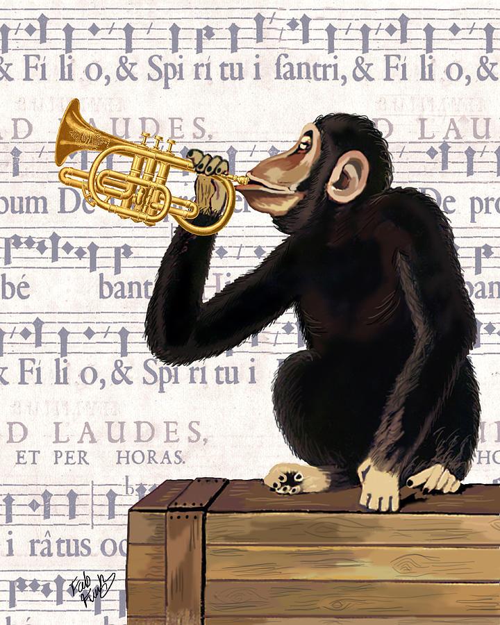Monkey And Trumpet Digital Art by Kelly McLaughlan