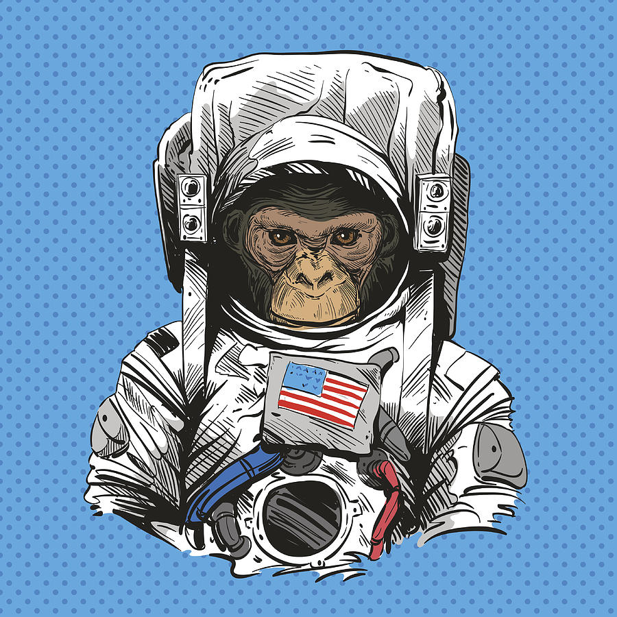 Monkey In Astronaut Suit. Hand Drawn Vector Illustration by Yakovliev