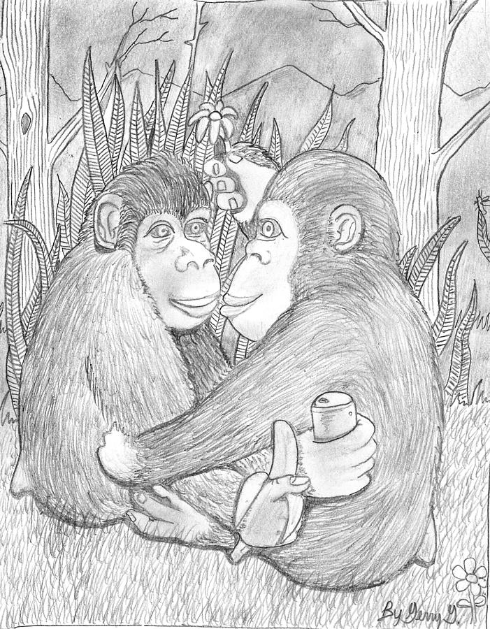 Monkey Love Drawing by Gerald Griffin