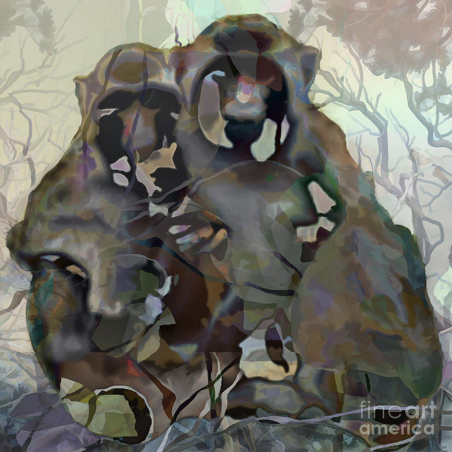 Ursula Freer Painting - Monkey Love by Ursula Freer