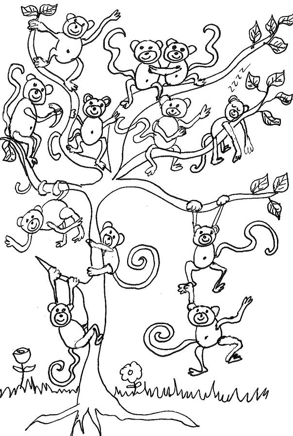 monkey tree drawing by cherie sexsmith - Coloring Pages Monkeys Trees