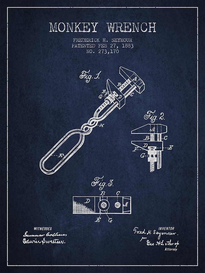Monkey Wrench Digital Art - Monkey Wrench Patent Drawing From 1883 by Aged Pixel
