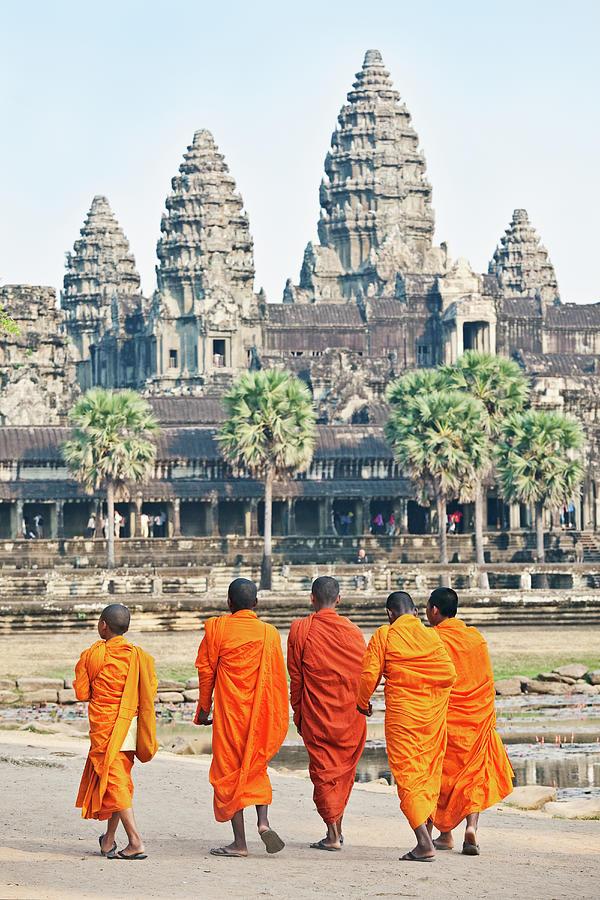 Monks, Angkor Wat, Cambodia Photograph by John W Banagan
