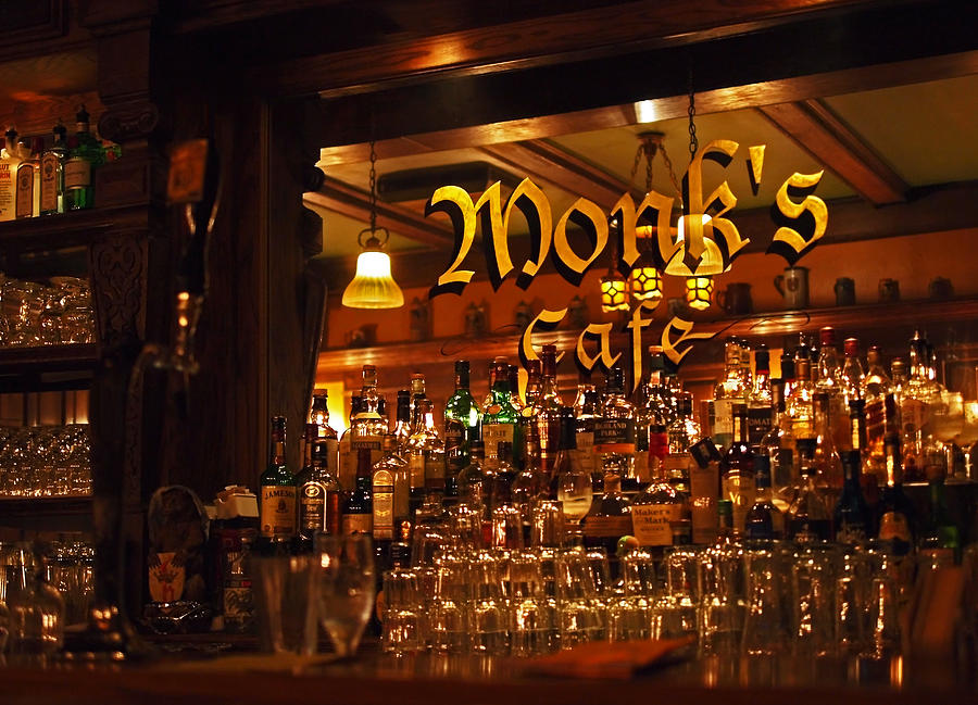 Belgian Photograph - Monks Cafe by Rona Black