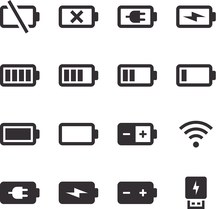 Mono Icons Set   Battery & Power Drawing by Kenex
