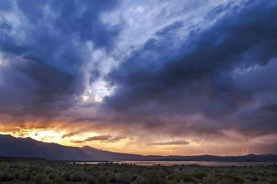 Lightning Photograph - Mono Lake Lightning by Cat Connor