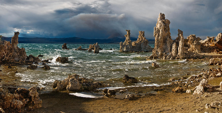 Stormy Photograph - Mono Lake Stormy Panorama by Dave Dilli
