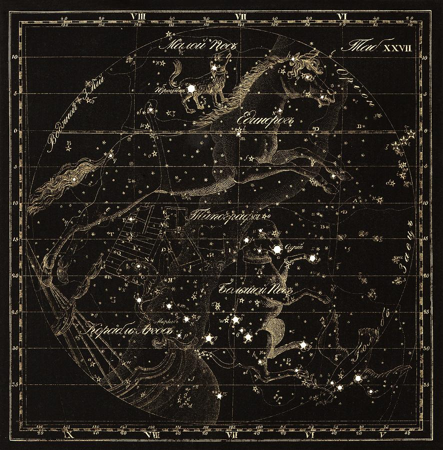 Monoceros Photograph - Monoceros Constellations, 1829 by Science Photo Library