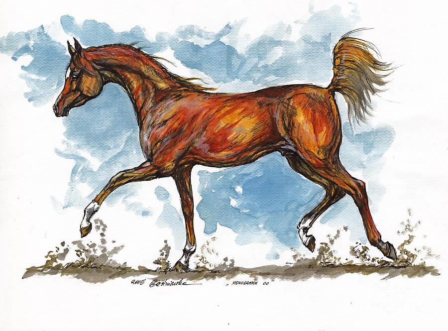 Horse Painting - Monogramm 1 by Angel  Tarantella