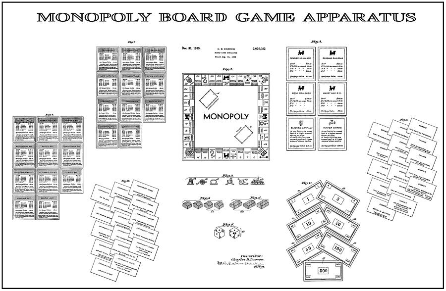 Monopoly board game patent art 1935 digital art by daniel hagerman monopoly digital art monopoly board game patent art 1935 by daniel hagerman malvernweather Choice Image