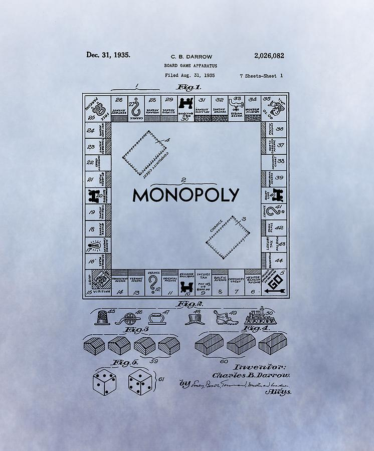 Monopoly Digital Art - Monopoly Board Game Patent by Dan Sproul