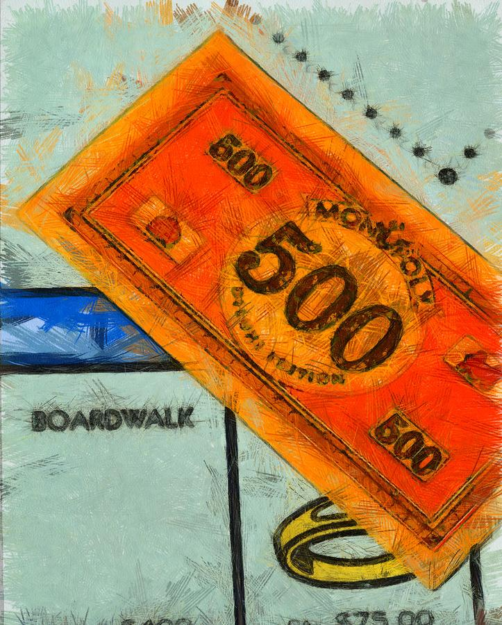 Monopoly Board Game Painting - Monopoly Money by Dan Sproul