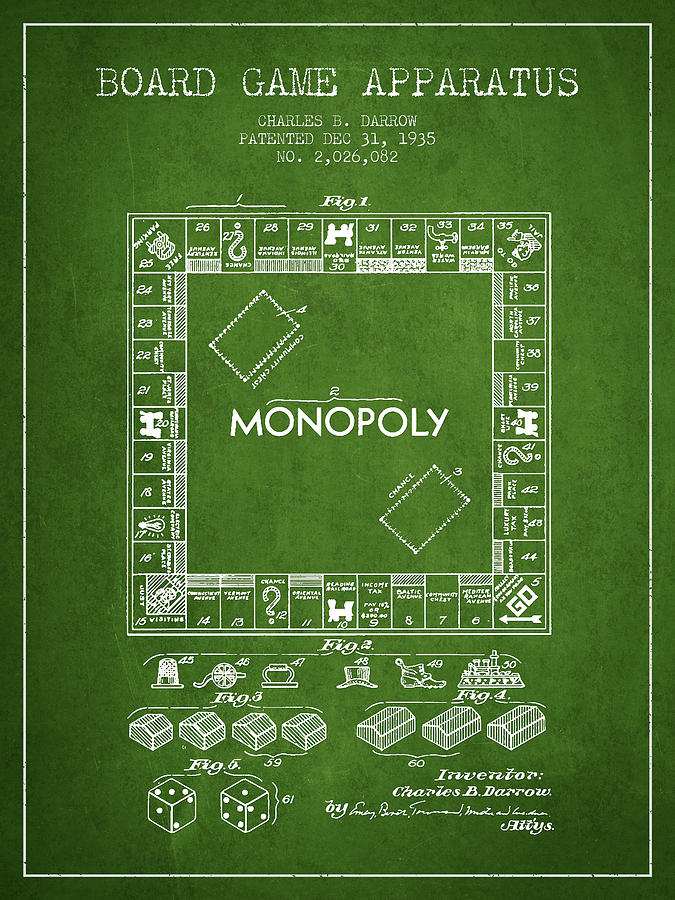 Monopoly Digital Art - Monopoly Patent From 1935 - Green by Aged Pixel