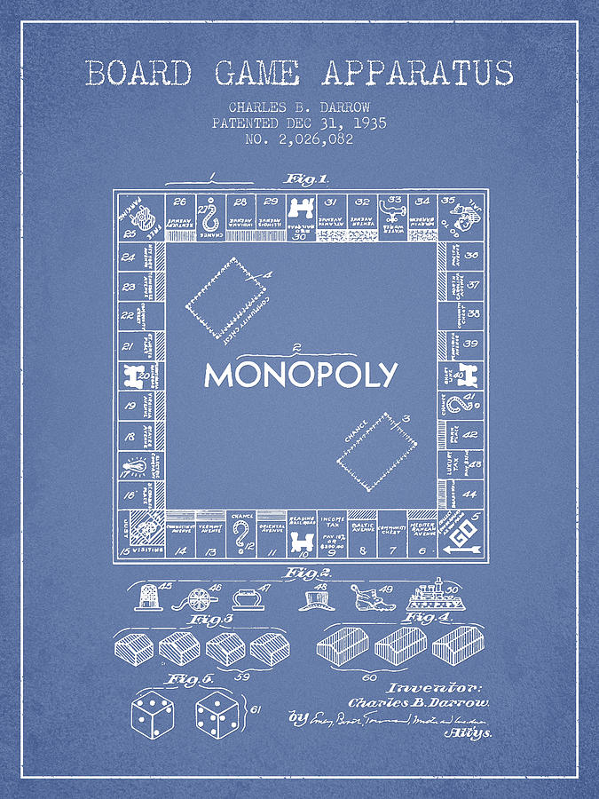 Monopoly Digital Art - Monopoly Patent From 1935 - Light Blue by Aged Pixel